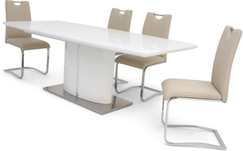 Flavio White High Gloss Butterfly Extending Dining Table and 4 Gabi Cream Chairs