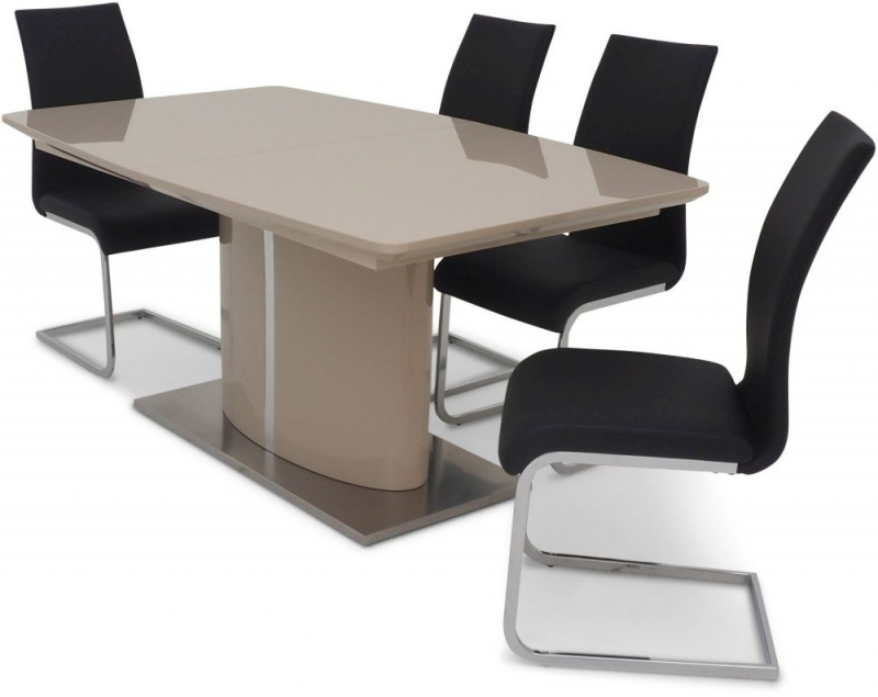 Flavio Cream High Gloss Butterfly Extending Dining Table and 4 Paolo Black Chairs
