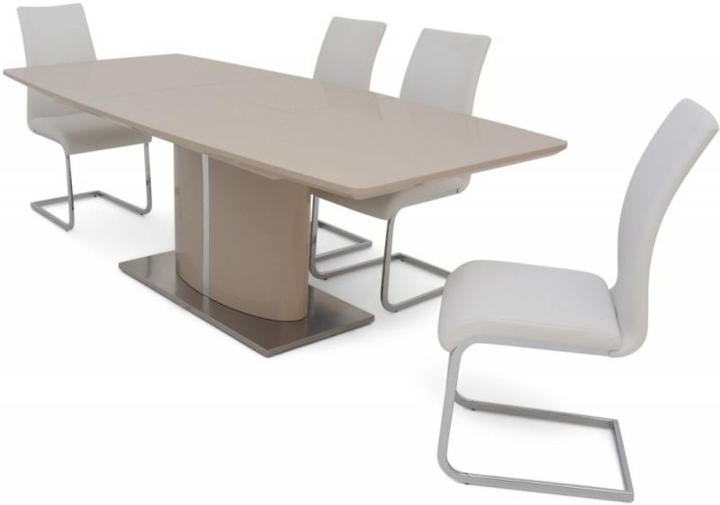 Flavio Cream High Gloss Butterfly Extending Dining Table and 4 Paolo White Chairs