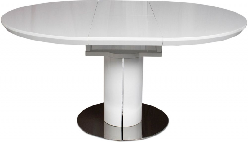 Romeo White High Gloss Butterfly Extending Dining Table