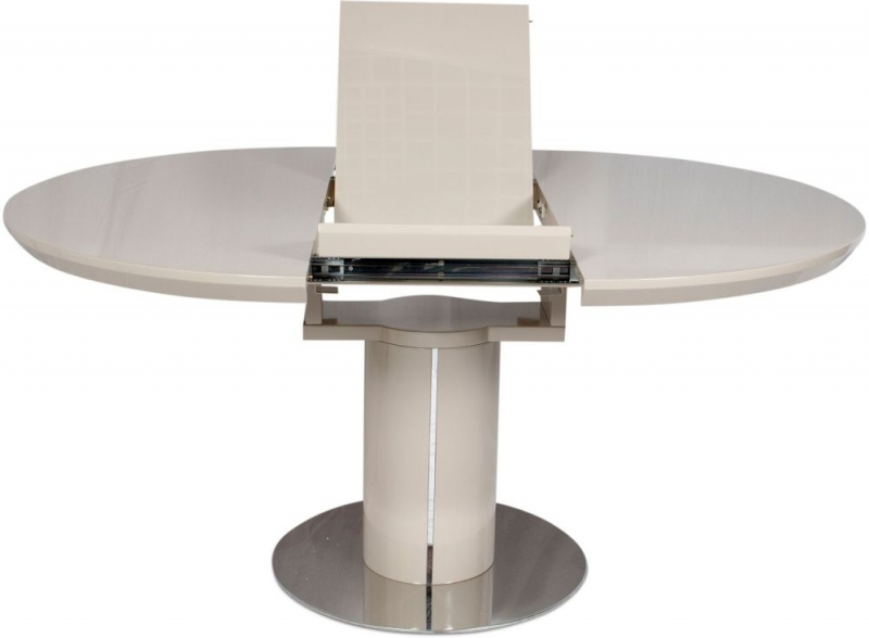 Romeo Cream High Gloss Butterfly Extending Dining Table