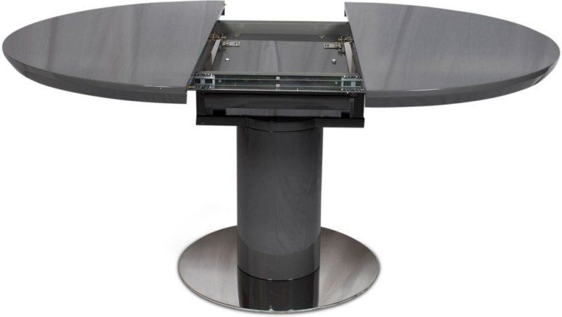 Romeo Grey High Gloss Butterfly Extending Dining Table