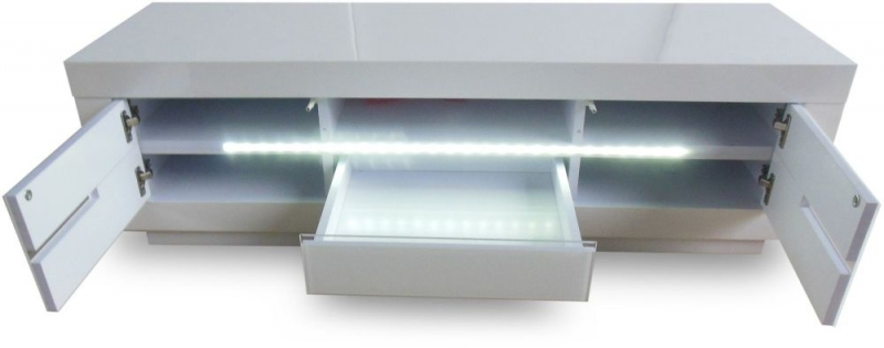 Monte Carlo White High Gloss TV Unit with LED