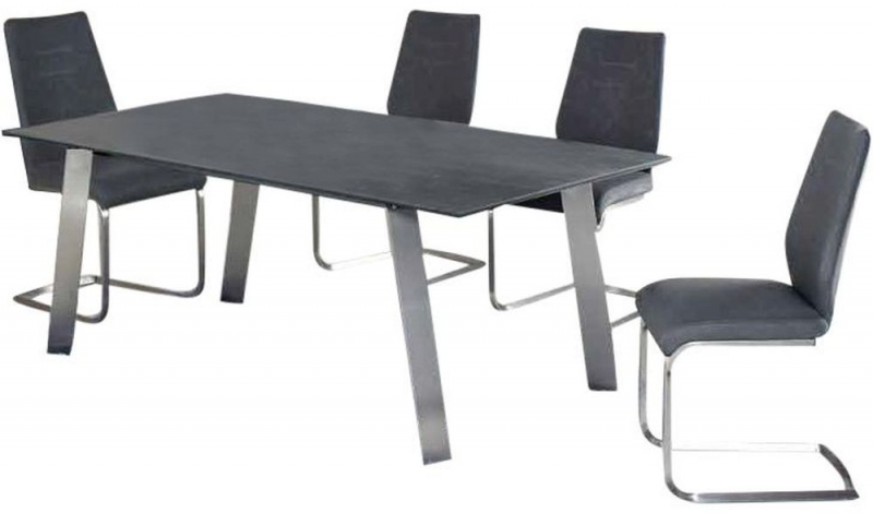 Buy Agata Grey Ceramic And Glass Top Dining Table With