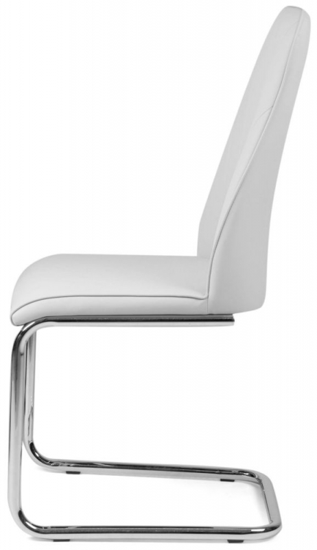 Buy Malissa White Faux Leather Dining Chair With Chrome Legs Pair