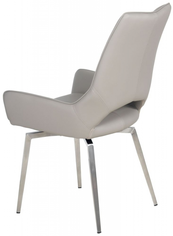Spinello Swivel Dining Chair (Pair) - Taupe Faux Leather and Chrome