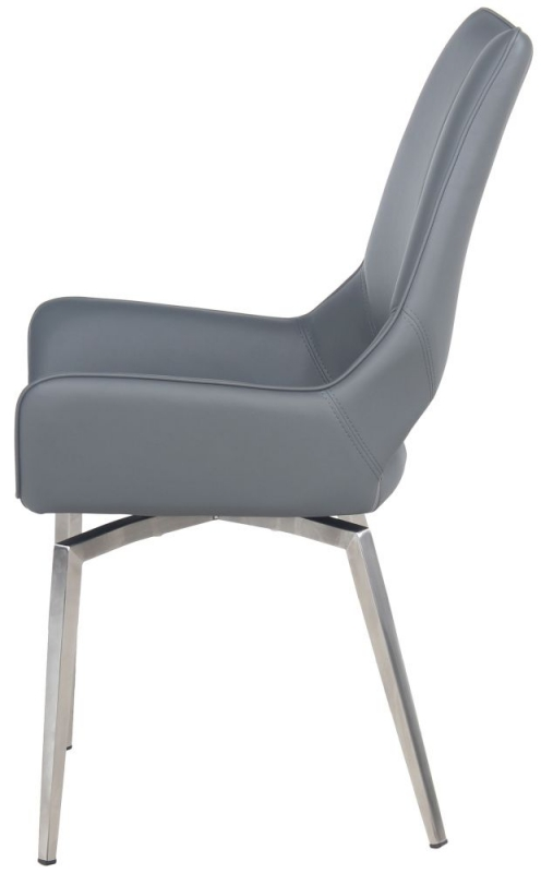 Incredible Spinello Swivel Dining Chair Pair Grey Faux Leather And Chrome Ncnpc Chair Design For Home Ncnpcorg