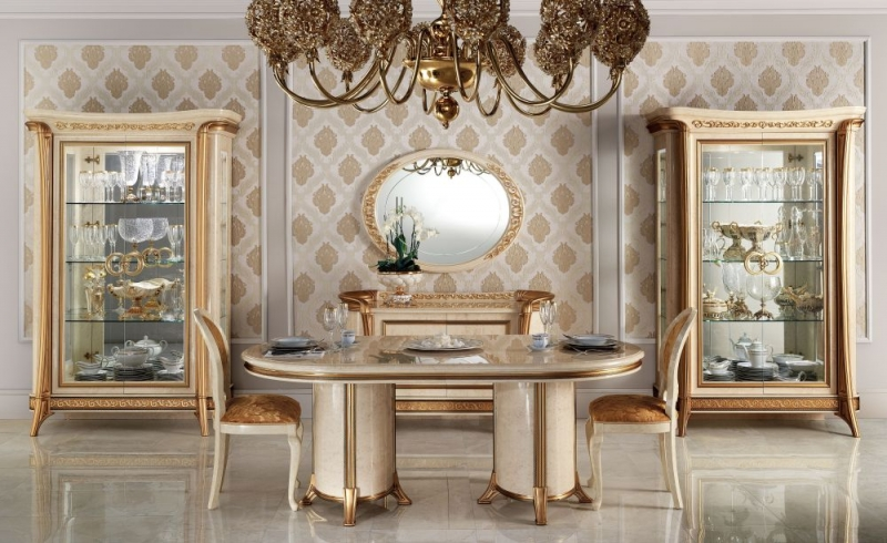 Arredoclassic Melodia Golden Italian 200cm-300cm Oval Extending Dining Table