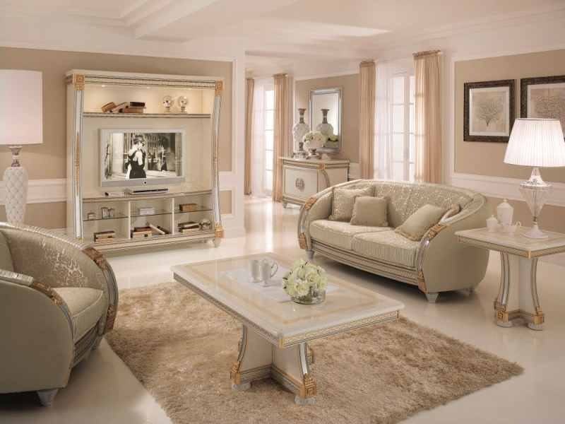 Arredoclassic Liberty Ivory with Gold Italian Lamp Table