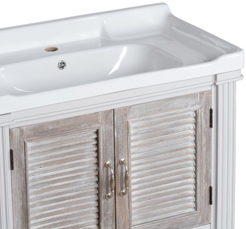 Hill Interiors Liberty White Painted Louvred Vanity Sink Unit