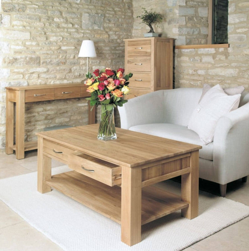 Buy Baumhaus Mobel Oak 4 Drawer Coffee Table Online   CFS UK