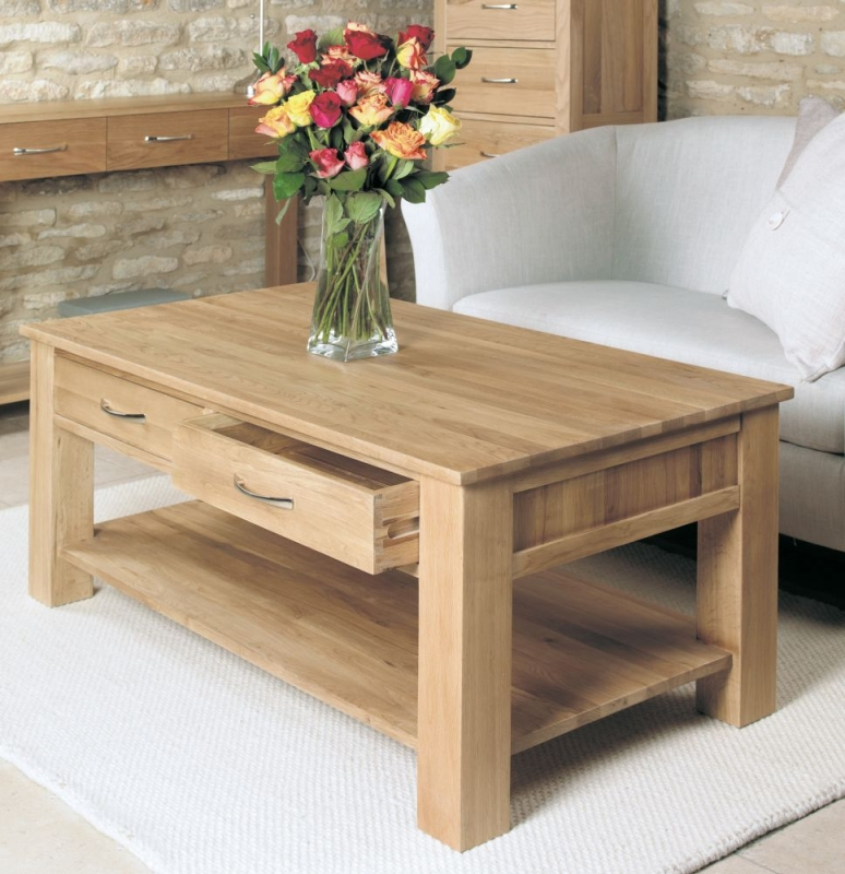 baumhaus mobel oak 2 drawer storage coffee table