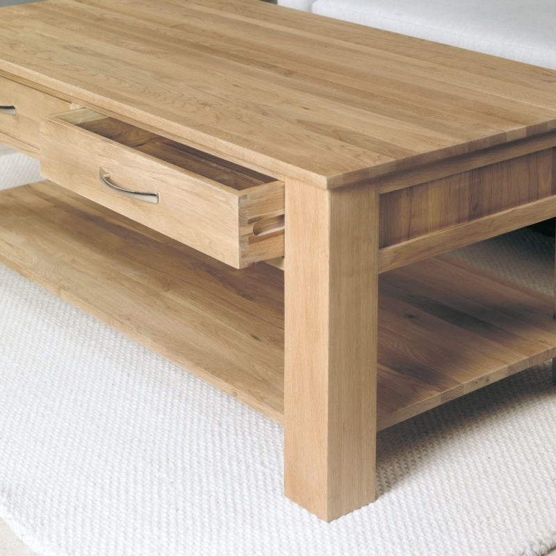Baumhaus Mobel Oak 4 Drawer Coffee Table