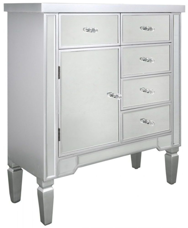 Mergo Mirrored Silver Trim 1 Door 5 Drawer Chest