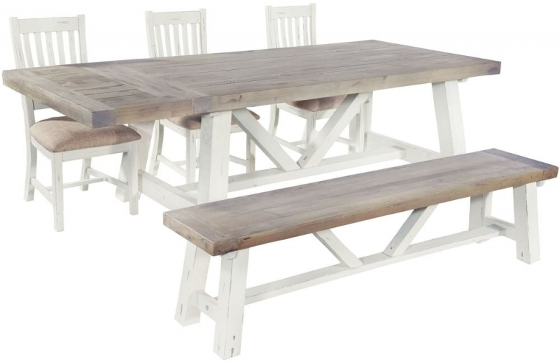 Clearance Kent White Painted Distressed Reclaimed Wood Small Dining Bench - 2230