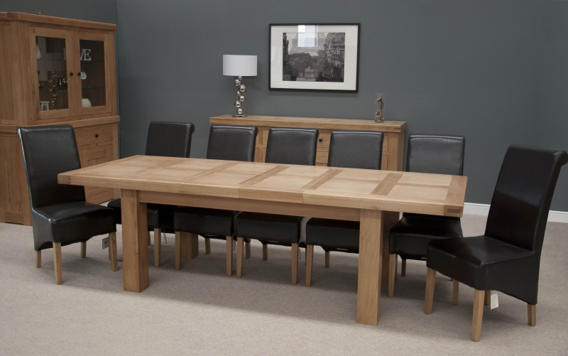 Homestyle GB Bordeaux Oak Grand Rectangular Extending Twin Panel Dining Set with 8 Richmond Black Chairs - 220cm-320cm