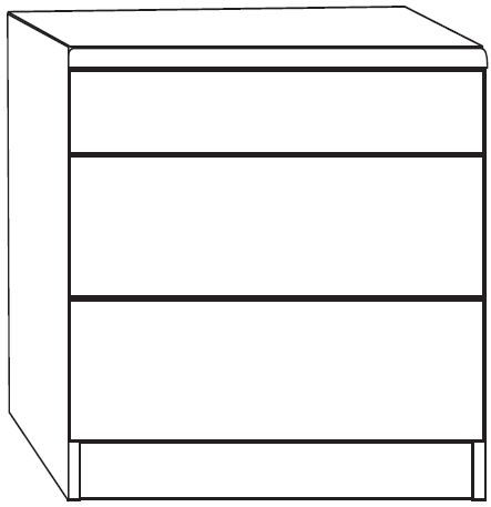 Wiemann Luxor 3+4 3 Drawer Narrow Bedside Cabinet in Polar Larch