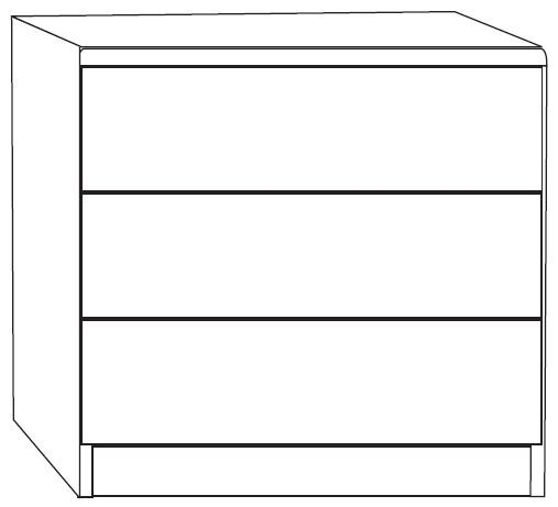 Wiemann Luxor 3+4 3 Drawer Bedside Cabinet in Polar Larch - W 40cm