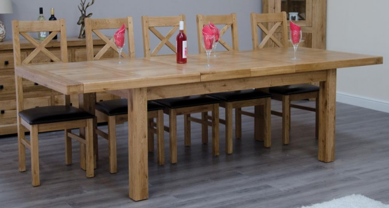 Homestyle GB Deluxe Oak Rectangular Extending Dining Set with 10 Ladder Back Chairs - 150cm-230cm