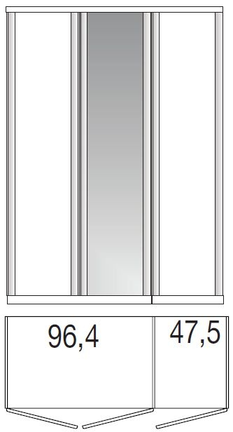 Wiemann Luxor 3+4 3 Door 1 Mirror Wardrobe in Polar Larch - W 150cm