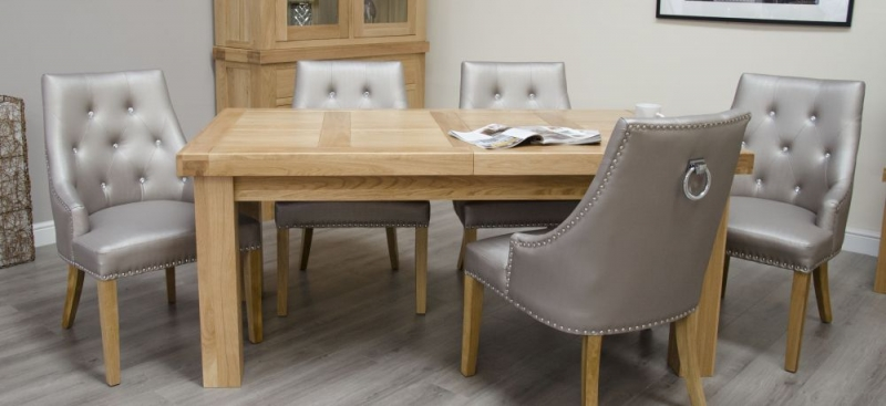 Homestyle GB Bordeaux Oak Rectangular Extending Dining Set with 6 Marjukka Stone Chairs - 180cm-260cm