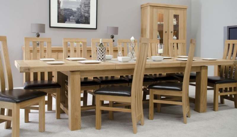 Homestyle GB Bordeaux Oak Rectangular Extending Dining Set with 10 Paris Bycast Chairs - 220cm-320cm