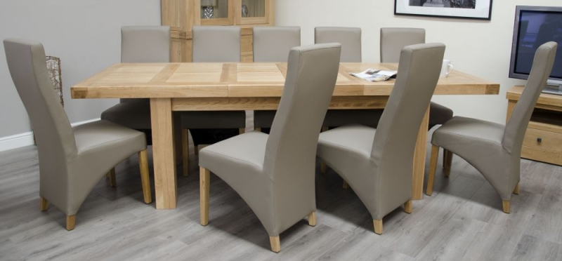Homestyle GB Bordeaux Oak Rectangular Extending Dining Set with 10 Mushroom Chairs - 220cm-320cm