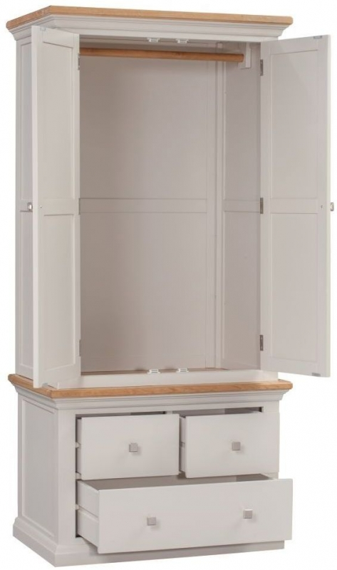 Homestyle GB Cotswold Painted 2 Door 3 Drawer Double Wardrobe