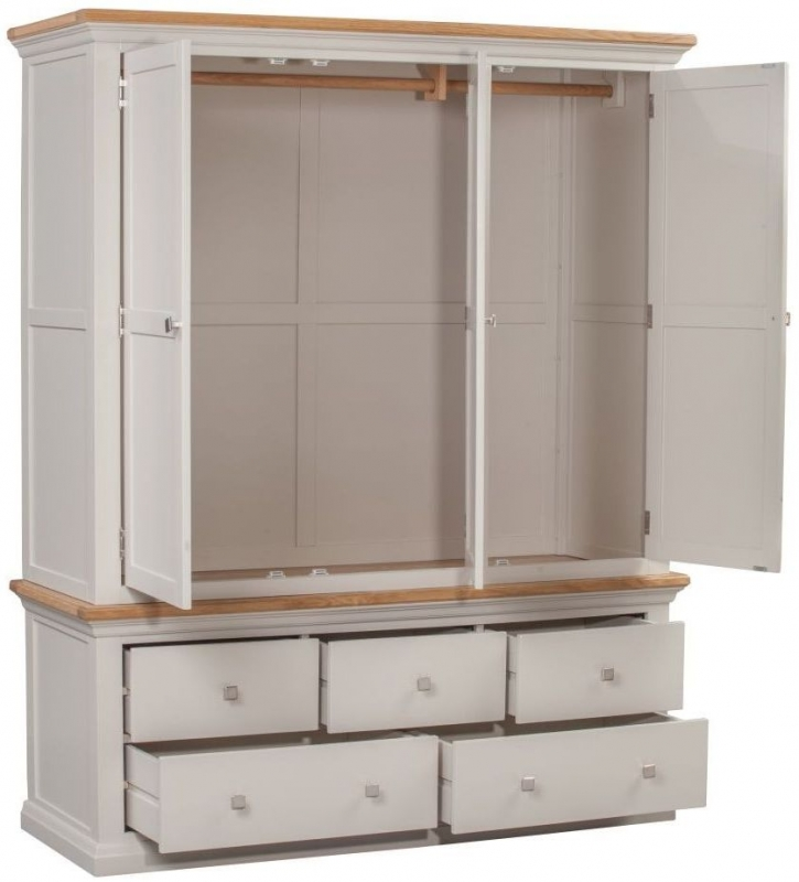 Homestyle GB Cotswold Painted 3 Door 5 Drawer Triple Wardrobe