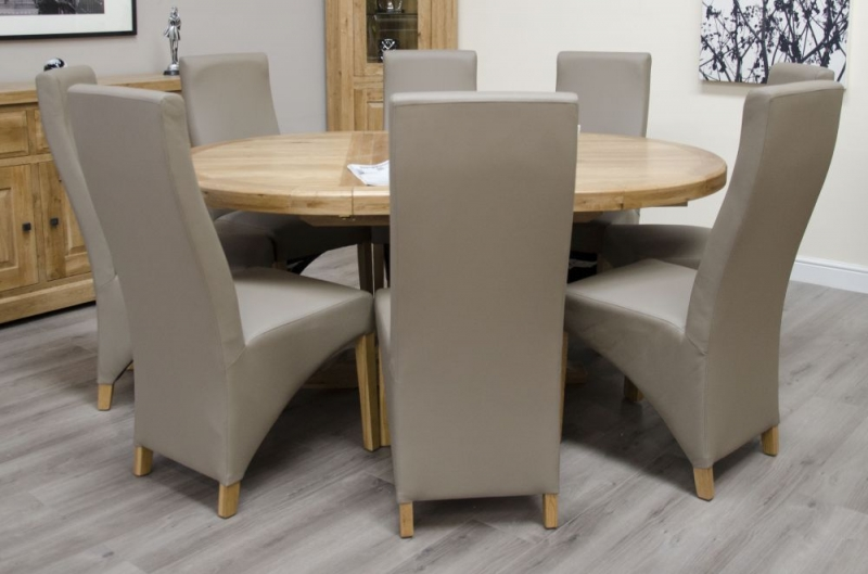 Homestyle GB Deluxe Oak Round Extending Dining Set with 6 Wave Mushroom Chairs - 125cm-180cm