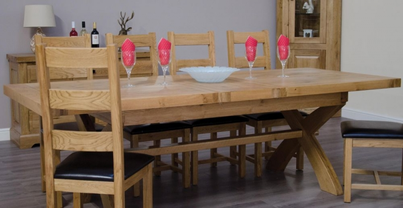 Homestyle GB Deluxe Oak X Leg Twin Leaf Rectangular Extending Dining Set with 6 Ladder Back Chairs - 200cm-280cm
