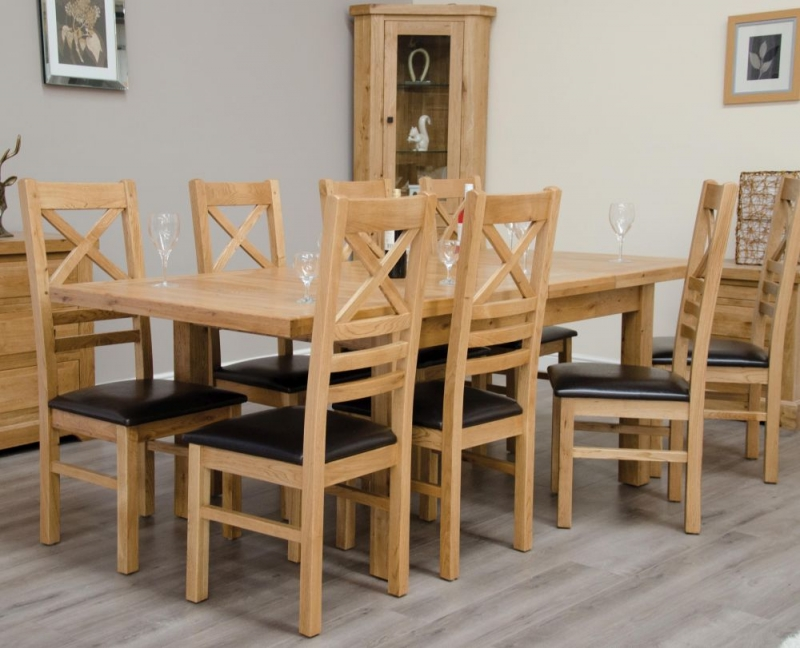 Homestyle GB Deluxe Oak Rectangular Extending Dining Set with 8 Cross Back Chairs - 150cm-230cm