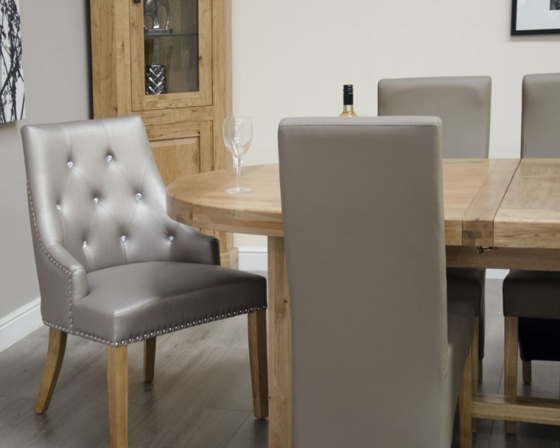 Homestyle GB Deluxe Oak Super Oval Extending Dining Set with 8 Marjukka Stone Chairs - 210cm-290cm