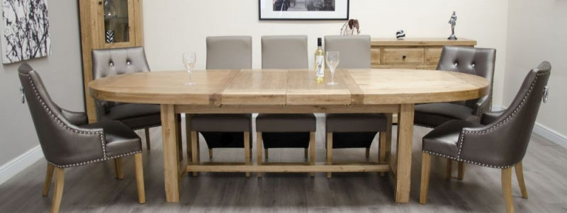 Homestyle GB Deluxe Oak Super Oval Extending Dining Set with 5 Wave Mushroom and 2 Marjukka Tungsten Chairs