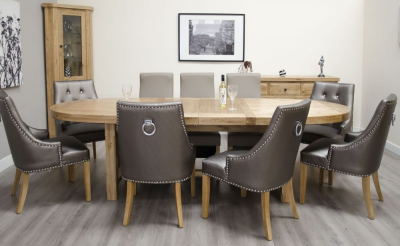 Homestyle GB Deluxe Oak Super Oval Extending Dining Set with 8 Marjukka Tungsten Chairs - 210cm-290cm