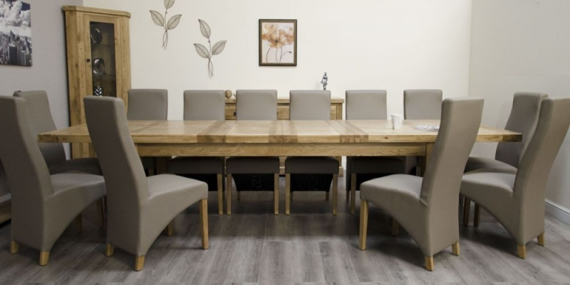 Homestyle GB Deluxe Oak Twin Leaf Rectangular Extending Dining Set with 10 Wave Mushroom Chairs - 240cm-340cm