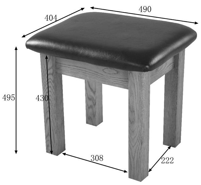 Clearance Rustic Solid Oak Dressing Stool - 2244
