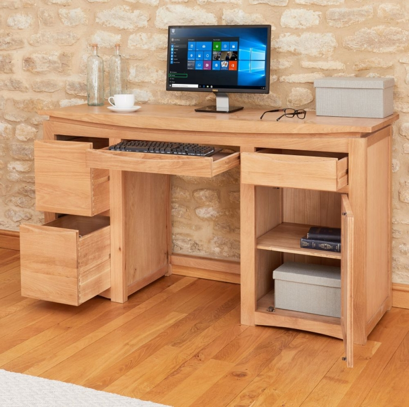 Baumhaus Roscoe Oak 1 Door 3 Drawer Home Office Desk