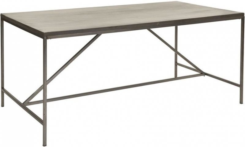Buy Willis And Gambier Forte Pine Faux Concrete Metal Base Dining - Concrete and metal dining table