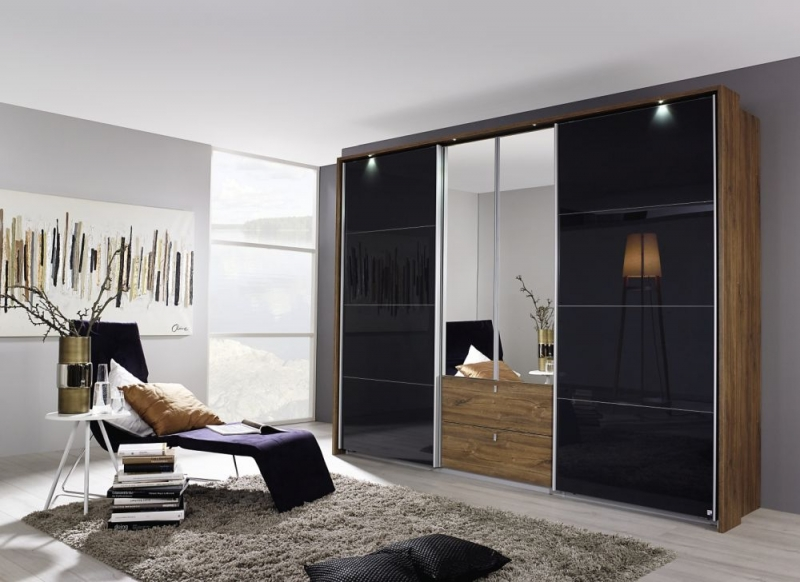 Rauch Kombino Combi Wardrobe with Sliding Door in Color Glass - 2 Hinged Door and 2 Drawers in Color