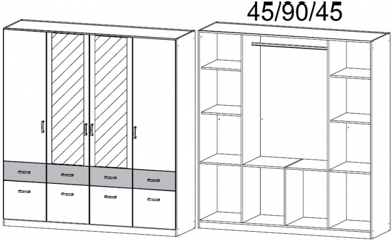 Rauch Bremen Extra 4 Door 8 Drawer 2 Mirror Combi Wardrobe in Sanremo Oak and White - W 181cm