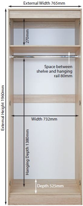 Knightsbridge 2 Door Tall Mirror Wardrobe - High Gloss Mushroom and Kaschmir Matt