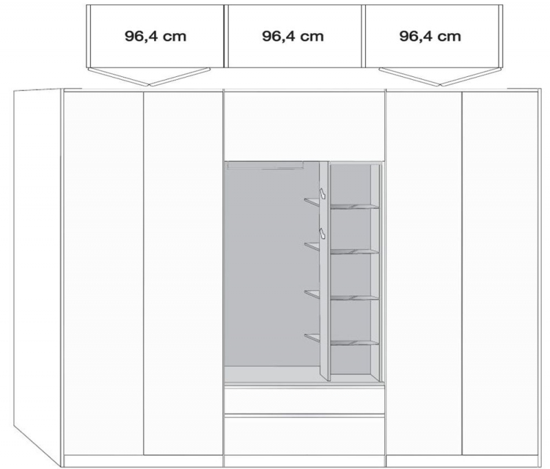 Wiemann Sita 4 Door 1 Drawer Bi Fold Panorama Functional Wardrobe in Champagne and Oak - W 300cm