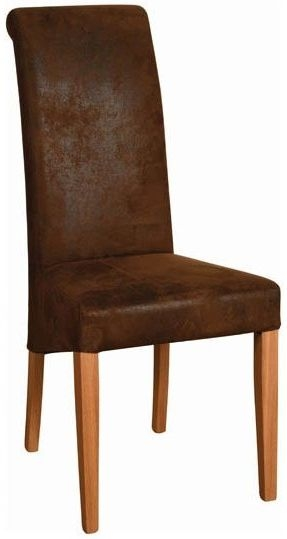 Devonshire New Oak Bison Faux Leather Dining Chair (Pair)