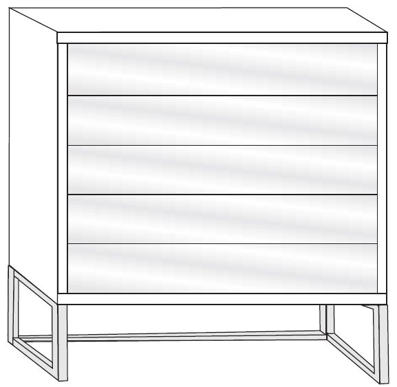 Wiemann Vigo 5 Drawer Glass Chest in Havana - W 60cm