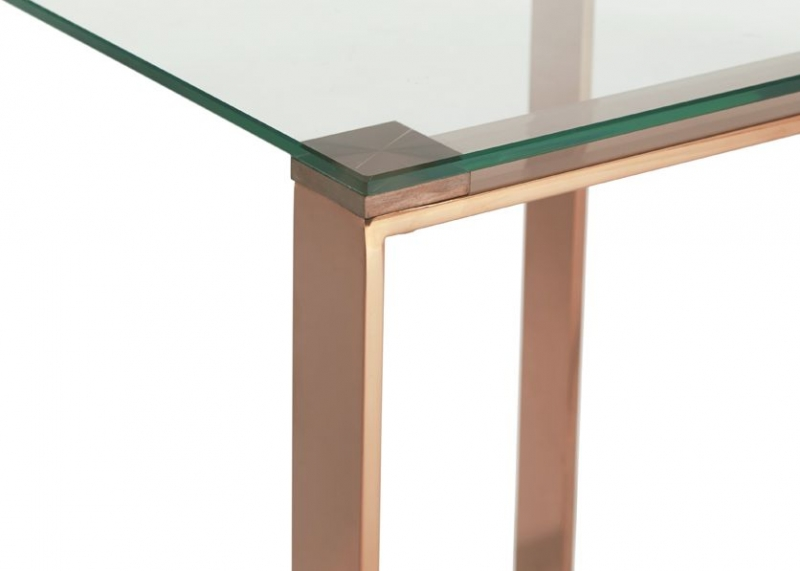 Serene Kayla Rose Gold and Glass Lamp Table
