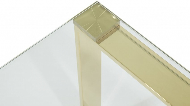 Serene Kayla Gold and Glass Coffee Table