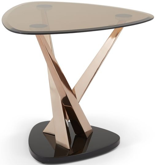 Serene Larissa Rose Gold and Smoked Glass Lamp Table