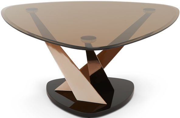 Serene Larissa Rose Gold and Smoked Glass Coffee Table