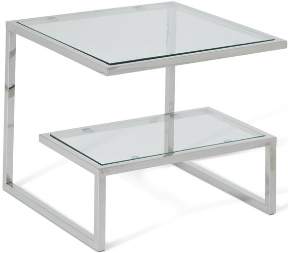 Serene Mera Stainless Steel and Glass Lamp Table